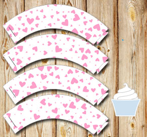 White cupcake wrappers with light pink hearts  | Free printable for Valentines day