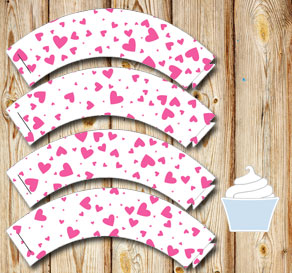 White cupcake wrappers with pink hearts  | Free printable for Valentines day
