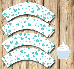 White cupcake wrappers with turquoise hearts  | Free printable for Valentines day