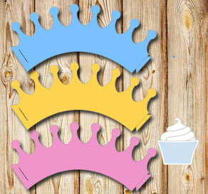 Cupcake wrapper crowns  | Free printable cupcake wrappers and toppers