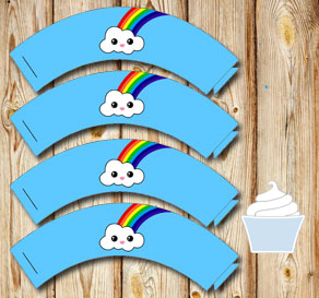 Blue cupcake wrapper with cloud and rainbow  | Free printable cupcake wrappers and toppers