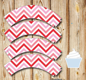 Cupcake wrappers with pink mixed chevron 1  | Free printable for Valentines day