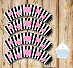Black and white striped cupcake wrappers with pink ...  | Free printable for Valentines day