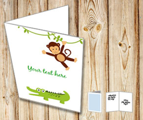 Card with a monkey and a crocodile  | Free printable card