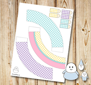 Egg people: Plaid colorful skirts 1  | Free printable for Easter