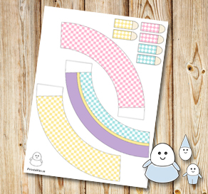 Egg people: Plaid colorful skirts 2  | Free printable for Easter