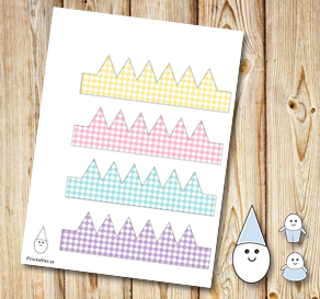 Egg people: Colorful plaid crowns  | Free printable for Easter
