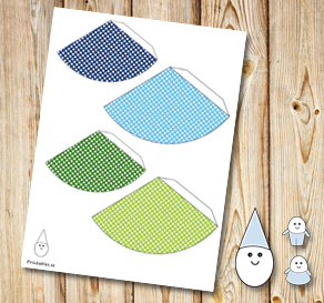 Egg people: Dotted party hats in blue and green  | Free printable for Easter
