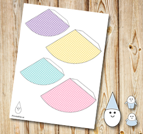 Egg people: Colorful dotted party hats  | Free printable for Easter