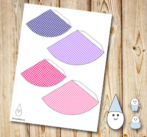 Egg people: Dotted party hats in pink and purple  | Free printable for Easter