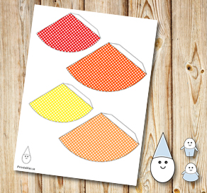 Egg people: Dotted party hats in yellow, orange and...  | Free printable for Easter
