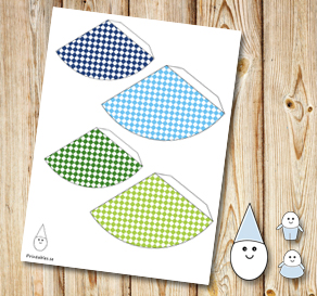 Egg people: Plaid party hats in blue and green  | Free printable for Easter