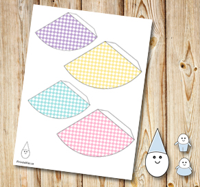 Egg people: Colorful plaid party hats  | Free printable for Easter
