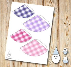 Egg people: Plaid party hats in pink and purple  | Free printable for Easter