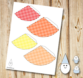 Egg people: Plaid party hats in yellow, orange and red  | Free printable for Easter