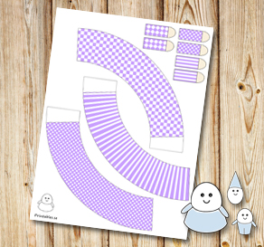 Egg people: Light purple skirts  | Free printable for Easter