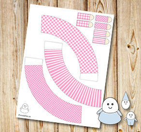 Egg people: Light pink skirts  | Free printable for Easter