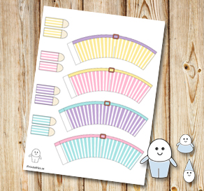 Egg people: Striped colorful pants with belts  | Free printable for Easter