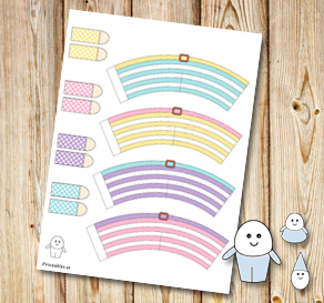 Egg people: Striped colorful pants with belts 2  | Free printable for Easter
