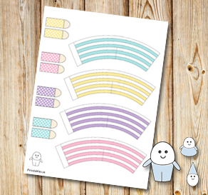 Egg people: Striped colorful pants 2  | Free printable for Easter