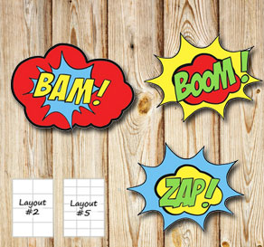 Labels with ZAP BAM BOOM POP  | Free printable labels