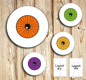 Labels with eyeballs  | Free printable for Halloween