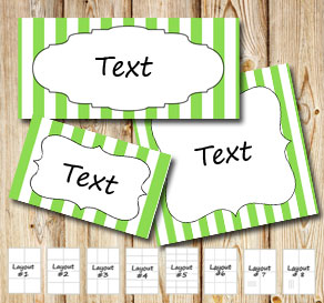 Green and white striped labels  | Free printable labels