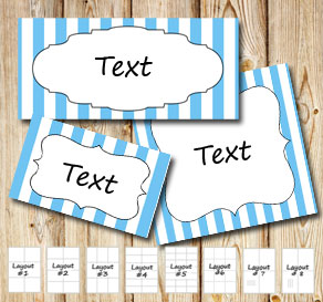 Light blue and white striped labels  | Free printable labels