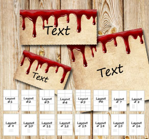 Labels in bloody old vintage paper  | Free printable for Halloween
