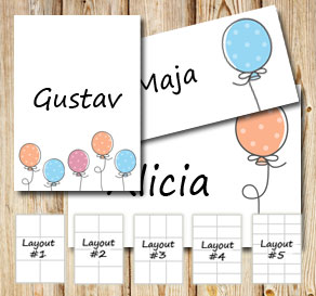 Labels with dotted balloons  | Free printable labels
