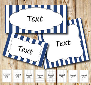 Dark blue and white striped labels  | Free printable labels