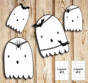 Labels with Halloween ghosts 1  | Free printable for Halloween