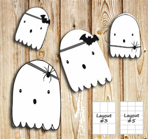 Labels with Halloween ghosts 2  | Free printable for Halloween