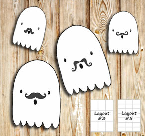 Labels with ghosts with mustasch  | Free printable for Halloween