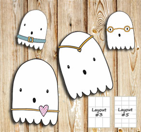 Labels with cute ghosts 1  | Free printable for Halloween