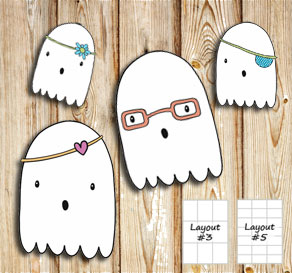 Labels with cute ghosts 2  | Free printable for Halloween