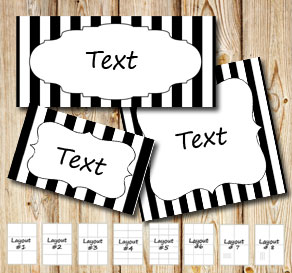 Black and white striped labels  | Free printable labels