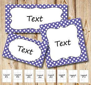 Purple labels with white dots  | Free printable labels