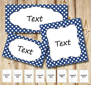 Dark blue labels with white dots  | Free printable labels