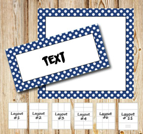 Labels with a white dotted dark blue frame  | Free printable labels