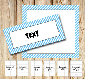 Labels with a white striped light blue frame  | Free printable labels