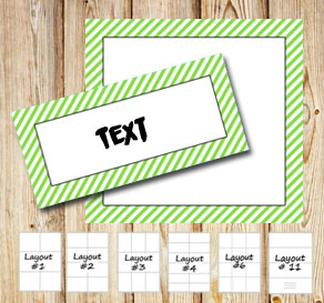 Labels with a white striped light green frame  | Free printable labels