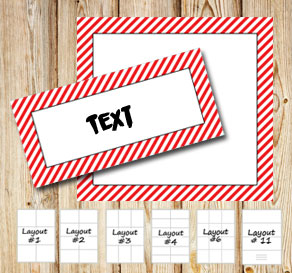 Labels with a white striped red frame  | Free printable labels