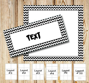 Labels with a zig zag striped black frame  | Free printable labels