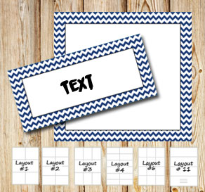Labels with a zig zag striped dark blue frame  | Free printable labels