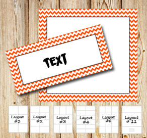 Labels with a zig zag striped orange frame  | Free printable labels