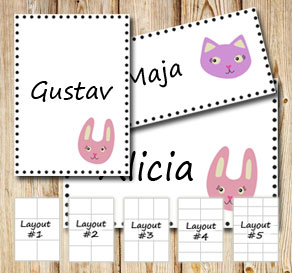 Labels with cats and bunnys  | Free printable labels
