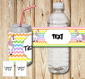 Chevron pattern bottle labels in light rainbow colo...  | Free printable bottle wrapper