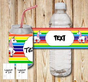 Striped bottle labels in rainbow colors with unicor...  | Free printable bottle wrapper