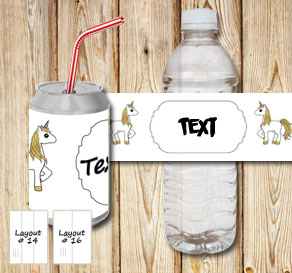 Wihte bottle labels with unicorns 3  | Free printable bottle wrapper